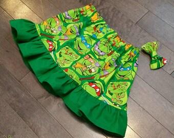 The Ninja Turtles Ruffle Skirt and Mini bow