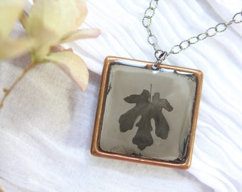 "Wet Plate Collodion Tintype, ""Fig Leaf""  in Square Copper Setting with Oxidized, Facetted Sterling Silver Chain"