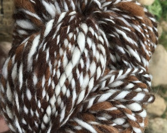 Alpaca Yarn, Art Yarn, Alpaca Merino Wool Blend, Handspun, Thick and Thin Art Yarn, Brown and White Tweed, Ready to Ship