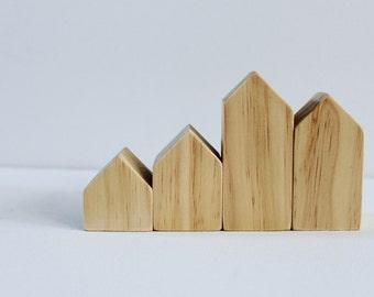Natural Wood Village Set - Little Wood Houses - Modern Rustic Home Decor - Natural Modern Decor - Neutral Nursery