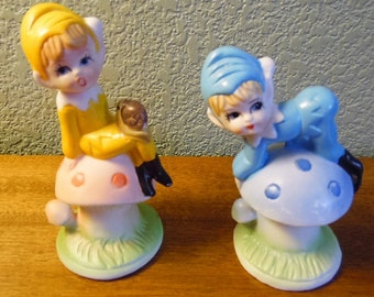"""Pair of adorable vintage gnomes, elves, pixies toadstools, 1970s, made in Taiwan. 3 1/4, 4 1/4"""","""