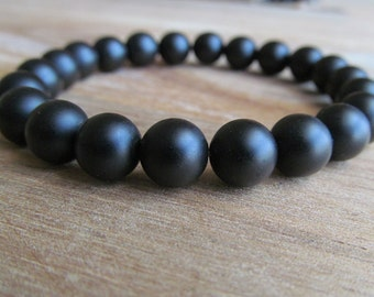 Matte Black Onyx Bracelet, Stacking Bracelet, Men's Bracelet, Mala Bracelet, Layering Bracelet, Matte Black Onyx, Men's Jewelry
