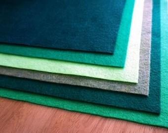 Kunin Ecofi Felt in 5 GORGEOUS GREEN SHADES Per Pack - Washable and Ironable Eco Felt! Free P&P