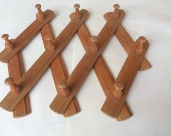 70's wooden coat pet hanger