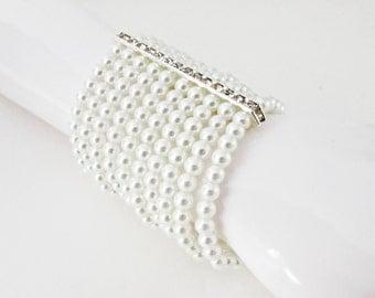 White Pearl and Silver Rhinestone Pearl Cuff Bracelet, Multi Strand Stretch Pearl Bracelet, Pearl Wedding Jewelry, White Pearl Cuff Bracelet