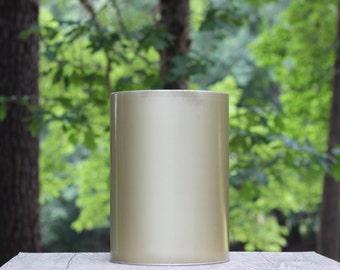 Large Vintage Gold Metal Trash Can / Gold Waste Basket / Simple Trash Can / Large Gold Trash Can / Antique Gold Trash Can