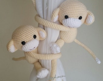 A pair of Beige Monkeys Curtain Tiebacks,(Both sides)  MADE TO ORDER..