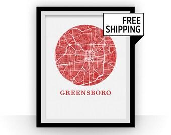 Greensboro Map Print - City Map Poster