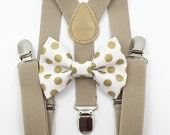 FREE DOMESTIC SHIPPING! Tan Suspenders + white and gold polka dot bow tie boy boys wedding pictures birthday formal wedding ring bearer