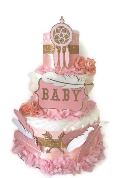 pink and gold tribal diaper cake tribal theme baby shower decoration