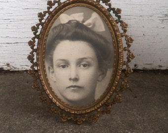 Antique Oval Brass Photo Frame