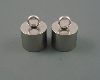 10MM Stainless Steel End Cap, TWO Pieces, Cap for Leather or Cord, 10mm Cap (SSC10-1)