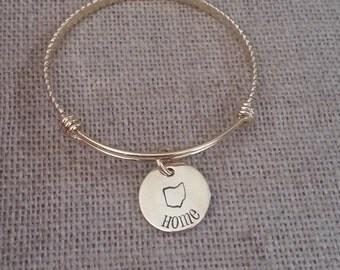 Personalized Bangle Bracelet-Adjustable Expandable Stainless Steel Wire Bangle Charm Bracelet-Gold bangle bracelet-Home Ohio-Ohio Jewelry
