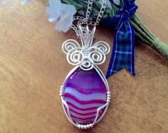 Agate wirework pendant, handmade wirework pendant, pink/purple agate pendant