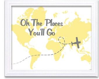 Oh, The Place You'll Go Nursery Art Nursery Print Baby Art Plane Airplane Yellow Grey Gray Baby Print Child Kids Wall Art Nursery Decor