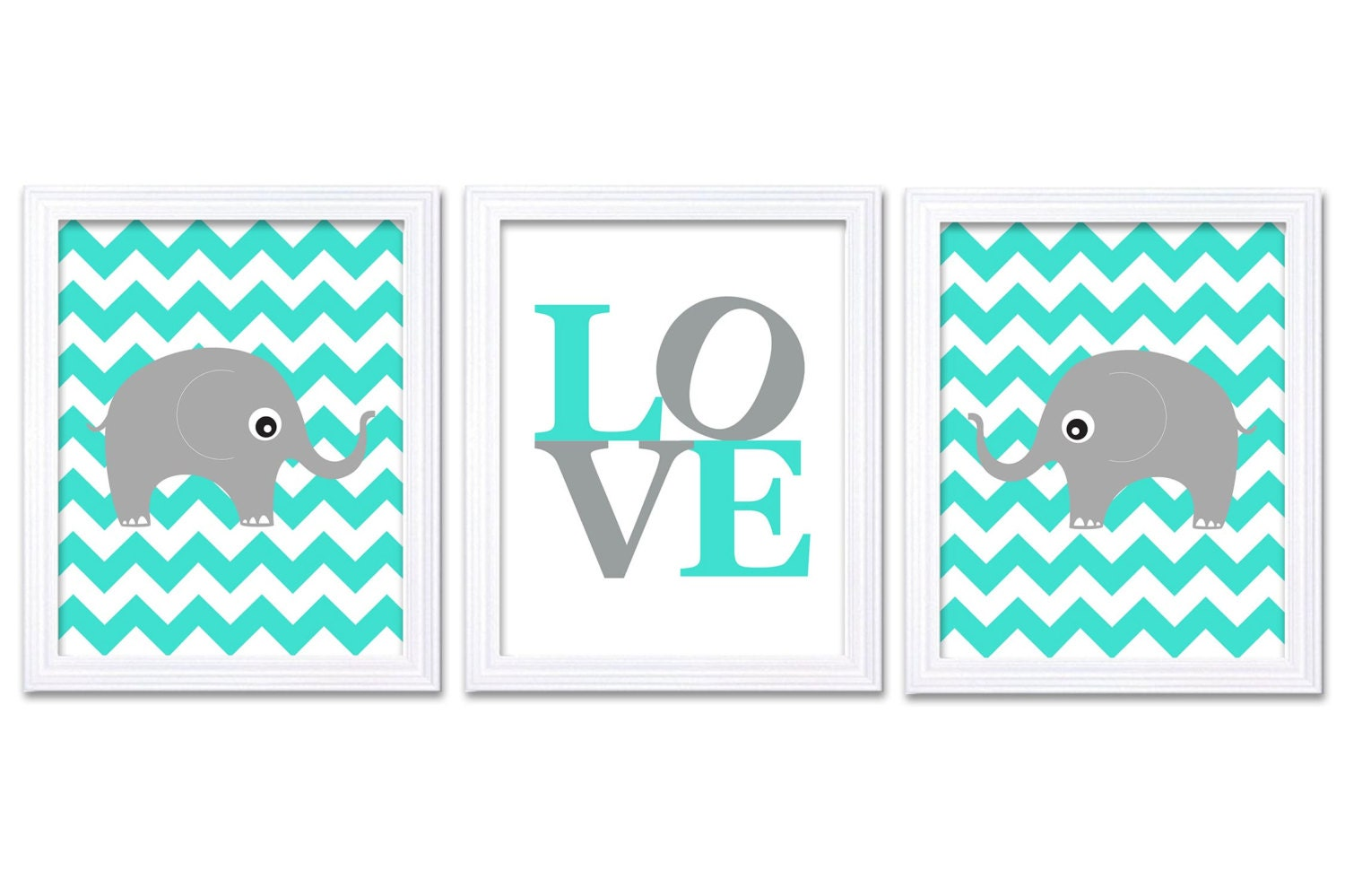 Blue Aqua Gray Grey Elephant Nursery Art LOVE Set of 3 Prints Chevron Child Art Kids Room Wall Art B