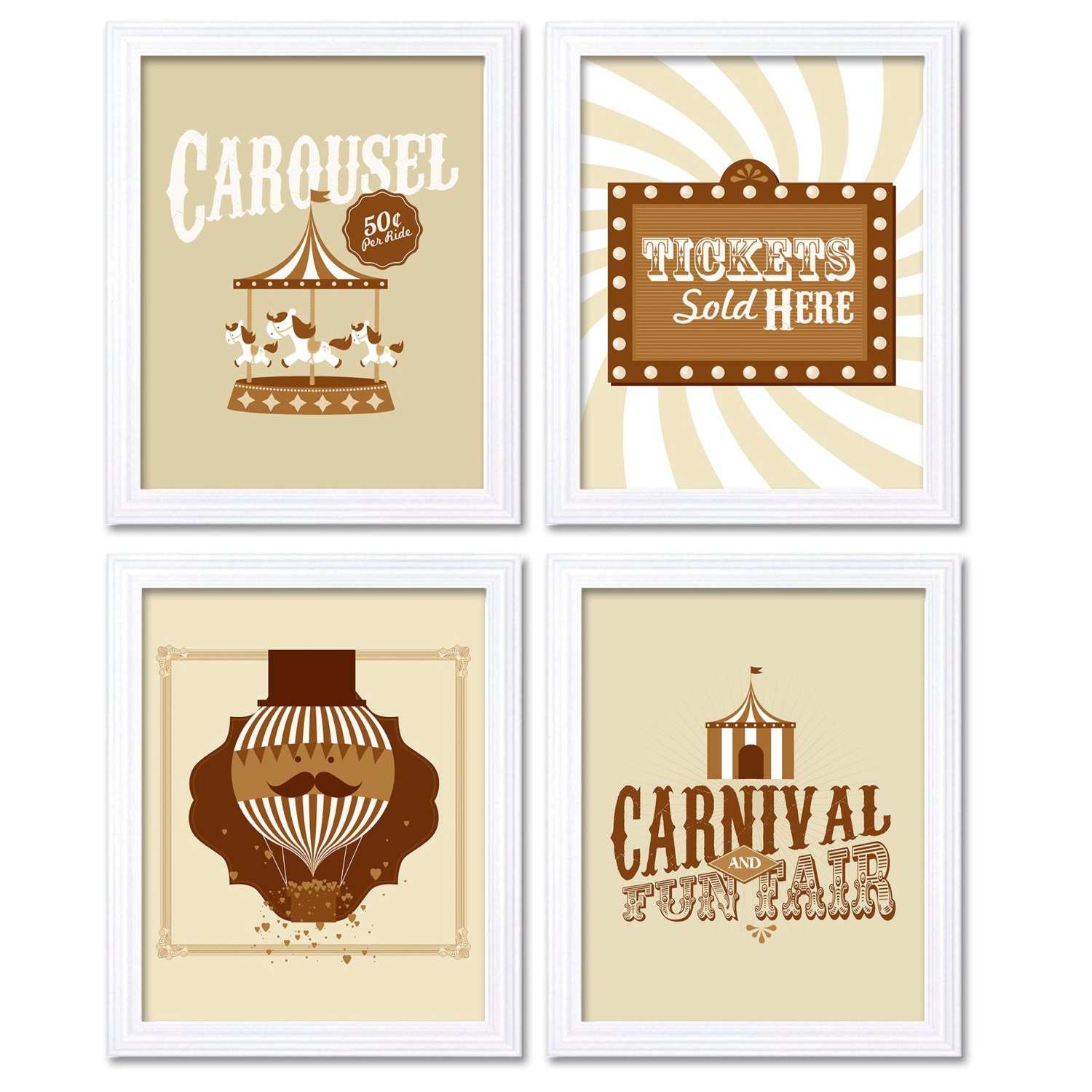 Brown Beige Carnival Nursery Art Fair Nursery Print Child Baby Set of 4 Circus Tickets Hot Air Ballo