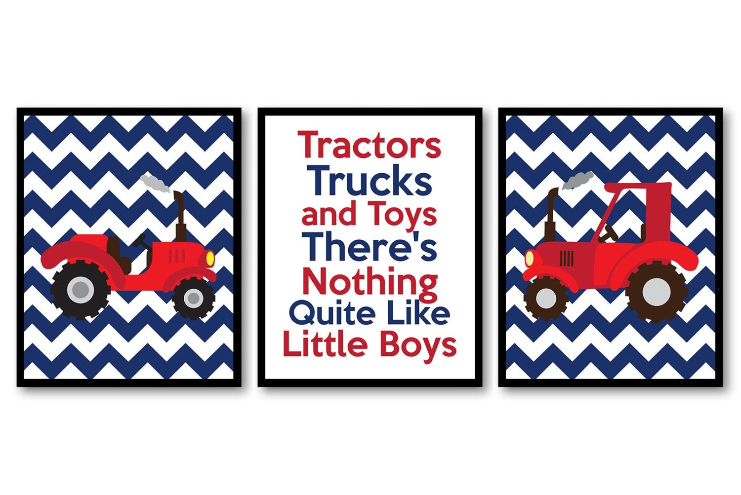 Nursery Art Tractors Trucks and Toys Theres Nothing Quite Like Little Boys Prints Set of 3 Navy Blue