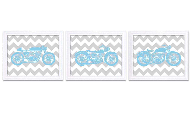 Motorcycle Nursery Art Nursery Prints Transportation Set of 3 Prints Light Blue Grey Chevron Boys Ar