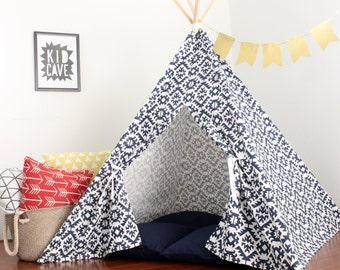 Navy Geometric, Teepee, Tee Pee, Childrens Teepee, Tent, Tee Pee Tent, Kids Teepee Ten, Playhouse, Indoor Tent, Tent for Kids, Teepee kids
