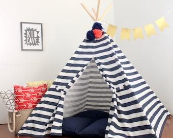 Navy and White Striped Play Tent Kids Teepee, Indoor Teepee, Tent for Kids, Toddler Tent, Kids Teepee Tent, Tee Pee, Teepees, Custom Order