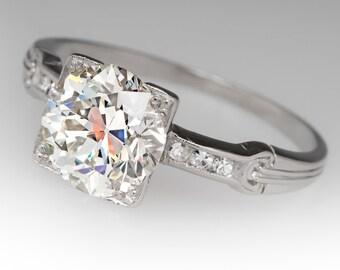 1920's Antique 2.24 Carat Old European Cut Diamond Platinum Engagement Ring WM11434