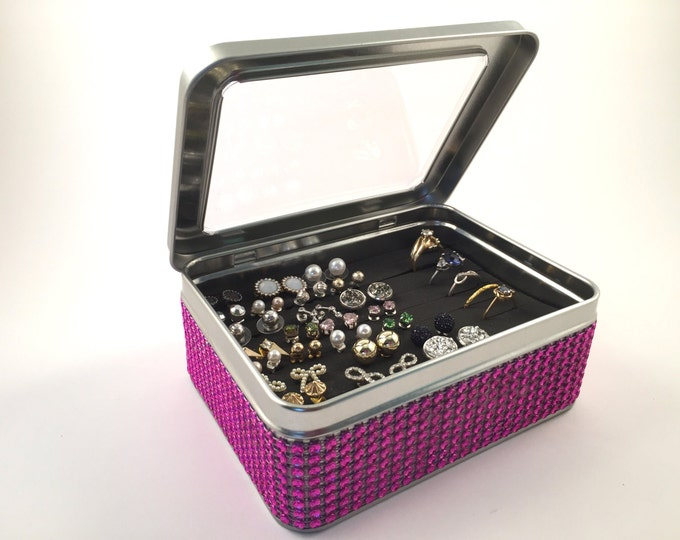 Tin Jewelry Box, Jeweled Ribbon - Bright Pink - Travel Earring Holder