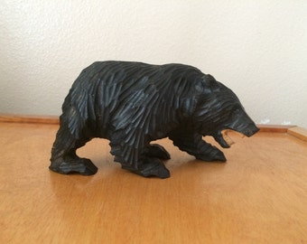 North American Black Bear with Teeth - Carved from Wood - Vintage