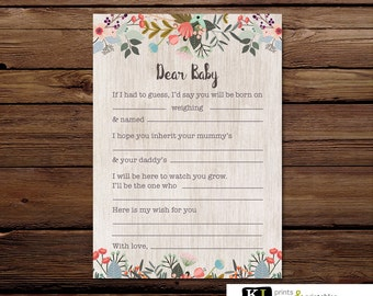 Dear Baby Printable Baby Shower Game  - Floral Baby Shower - Instant Download - flowers - Baby shower printable - wishes for baby