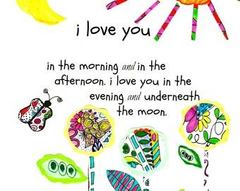 I Love You Nursery print. Colorful 8x10 print.