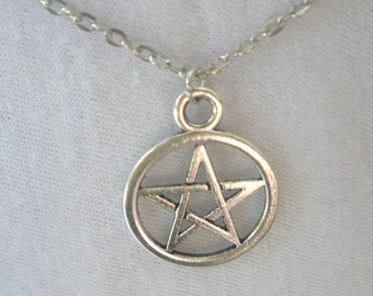 Pentacle Necklace/  Silver Pentacle Necklace/ Pentacle Charm Necklace/ Pentacle Charm/ Pick Charm/ Sun Signs
