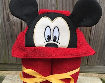 Mickey Mouse inspired Hooded Towel- Mickey Mouse inspired Towel- Personalized Towel