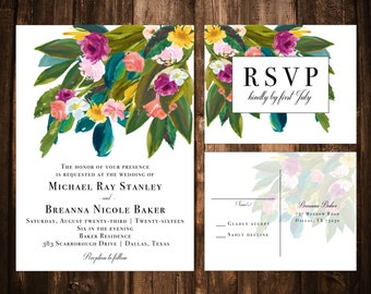 Bright Spring Watercolor Floral Wedding Invitations; Green, Fuchsia, Yellow, Teal; Printable OR set of 25