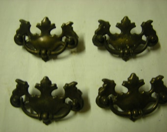 4 vintage drawer pulls-door pulls-supplies-recycle-upcycle-art-crafts-salvage-hardware-bronzed metal-