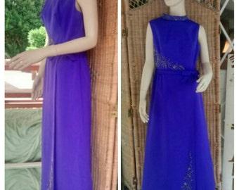 1970's Hand Sewn Floor Length Gown