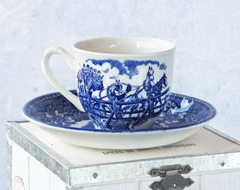 Vintage tasse porcelaine Royal Tudor Ware café tasse et soucoupe, bleu blanc, objets de collection