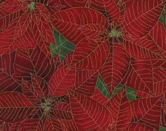 Tis the Season, Red Packed Poinsettias, Metallic, Timeless Treasures (By 1/2 yd)