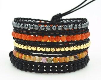 5 wrap bracelet, 5x wrap leather bracelet, bohemian bracelet,wrap bracelet, leather wrap bracelet, beaded wrap bracelet, Artisan Boho Chic