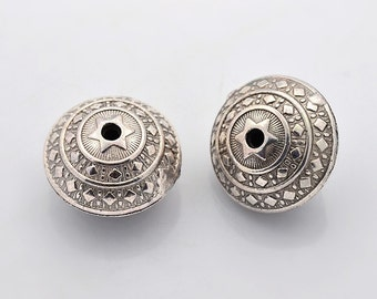 One Round Tibetan Silver Bead, Lead Free * Nickel Free * Cadmium Free, Size about 23mm in diameter, 16mm thick, hole 2mm   117