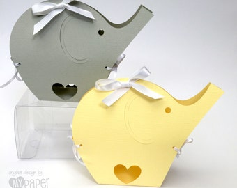 Elephant Gift Boxes - Pastel Yellow or Light Gray Baby Shower gift boxes. First birthday, safari. Elephant Ribbon boxes. Favors, gift bags.