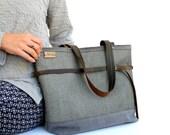 Grey Tote Bag grey canvas large handbag, canvas totebag