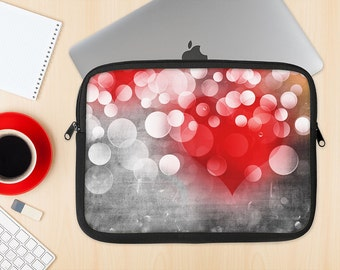 The Bright Unfocused White & Red Love Dots Dye-Sublimated NeoPrene MacBook Laptop Sleeve Carrying Case