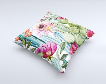 The Vintage Watercolor Cactus Bloom ink-Fuzed Decorative Throw Pillow