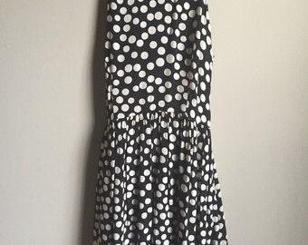 Funky 1980's Vintage Black and White Polka Dot Summer Dress Size 12