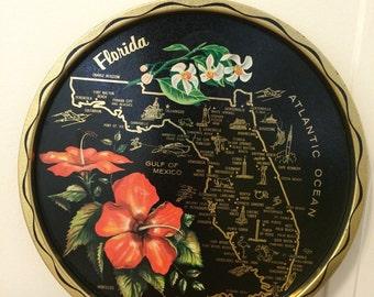 Vintage Metal Florida Map Souvenir Tray