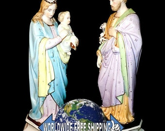 Porcelain figures Holy Family, Mary with Jesus and Joseph in 1900
