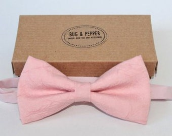 Men's Bow Tie / Pink Bow Tie / wedding groom chic bow tie / Pink bow tie with floral crease