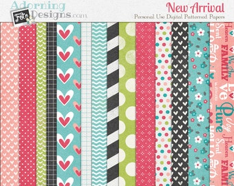 New Arrival Baby Girl Digital Scrapbooking Patterned Papers