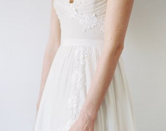 Cordova // A Lace-trimmed, Hand Ruched Chiffon Wedding Dress