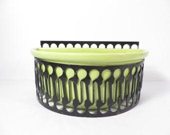 Mid Century Chartreuse Green Sierra Columbia Planter - Lime Green Pottery Black Lattice
